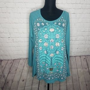 LUCKY BRAND Plus Size 1x Blue Graphic Shirt Top